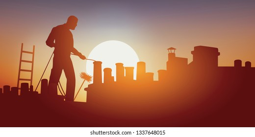 Building trades with a chimney sweep on a building roof that cleans a chimney. Standing on the roof, he works in an oppressive heat.
