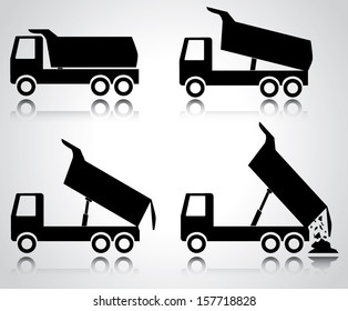Building trucks icon set. Abstract black truck icon collection isolated on white. Easy to edit vector design, objects are grouped separately.