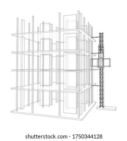 Building under construction with a mast lifts outline. Vector rendering of 3d. Wire-frame style. The layers of visible and invisible lines are separated