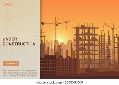 Building under Construction site design, Building construction prosess web template landing page vector illustration.
