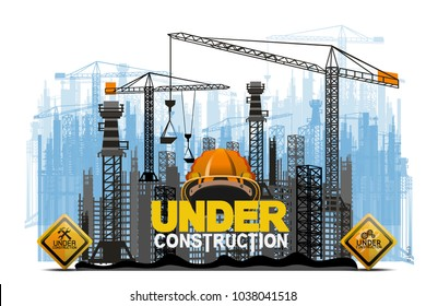Building under Construction site,Construction infographics,Vector illustration template design Horizontal vector illustration of construction site with cranes and skyscraper under construction  backgr
