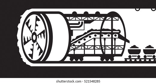 Building of underground tunnels - vector illustration