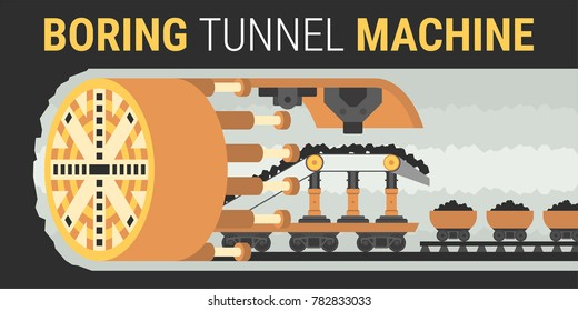 Building of underground tunnels vector illustration in flat style.