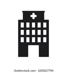 building vector icon, hospital icon in trendy flat style