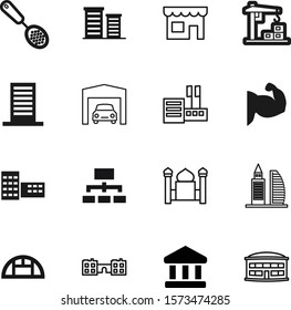 building vector icon set such as: people, garden, faith, diagram, cable, classic, power, greenhouse, machine, islamic, cooking, minaret, glasshouse, heavy, cartoon, industry, company, facade