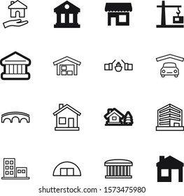 building vector icon set such as: boutique, transport, block, restaurant, facade, hook, shop, automobile, town, chalet, aircraft, style, mortgage, page, care, human, barn, hands, roof, pictogram
