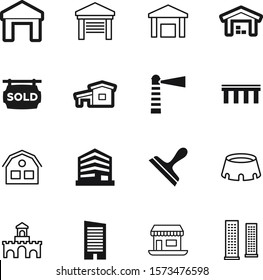 building vector icon set such as: hangar, sold, old, marine, historical, cleaner, agriculture, beach, room, fantasy, nautical, ancient, green, rent, break, team, thin, navigation, shape, button, car