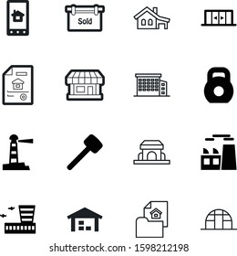 building vector icon set such as: silhouette, flight, growth, summer, natural, wooden, drawing, lifting, glass, system, art, app, supermarket, doorway, security, smart, gym, abstract, industrial