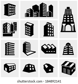 Building vector icons set on gray