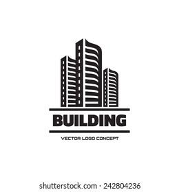 Building - vector logo. Real estate sign. Cityscape graphic concept illustration. Design element.