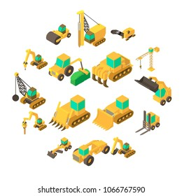 Building vehicles icons set. Isometric cartoon illustration of 16 building vehicles vector icons for web