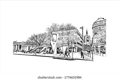 Building view with landmark of Aachen is a spa city near Germany's borders with Belgium and the Netherlands. Hand drawn sketch illustration in vector.