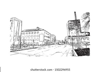 Building view with landmark of Aarhus is a city in Denmark on the Jutland peninsula's east coast. Hand drawn sketch illustration in vector.