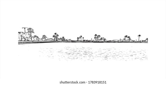 Building view with landmark of Agadir, a city along Morocco's southern Atlantic coast, in the foothills of the Anti-Atlas Mountains, Hand drawn sketch illustration in vector.