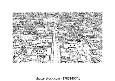 Building view with landmark of Aguascalientes is a city in central Mexico known for the Spanish. Hand drawn sketch illustration in vector.