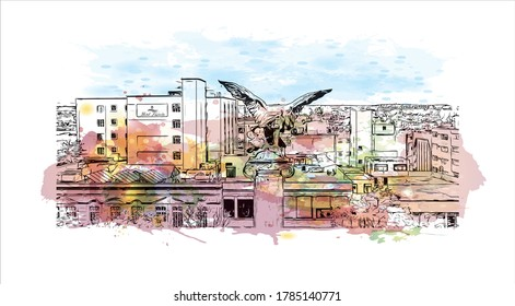Building view with landmark of Aguascalientes is a city in central Mexico known for the Spanish. Watercolor splash with Hand drawn sketch illustration in vector.