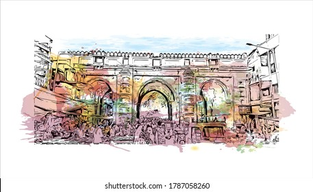 Building view with landmark of Ahmedabad, in western India, is the largest city in the state of Gujarat. Watercolor splash with hand drawn sketch illustration in vector.