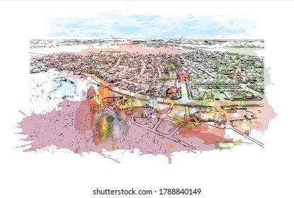 Building view with landmark of Ajax is a town in Durham Region in Southern Ontario, Canada. Watercolor splash with hand drawn sketch illustration in vector.