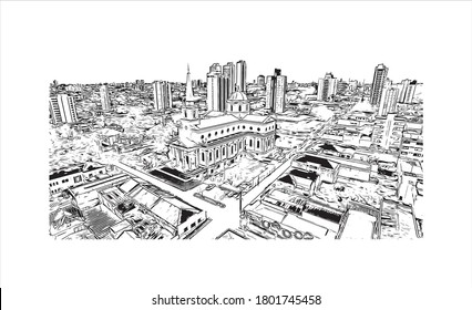 Building view with landmark of Americana is a municipality located in the Brazilian state of São Paulo. Hand drawn sketch illustration vector.