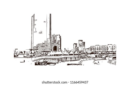 Building view with landmark of Astana is the capital city of Kazakhstan, straddling the Ishim River in the north of the country. Hand drawn sketch illustration in vector.