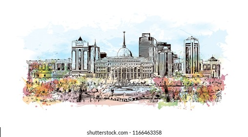 Building view with landmark of Astana is the capital city of Kazakhstan. Watercolor splash with Hand drawn sketch illustration in vector.