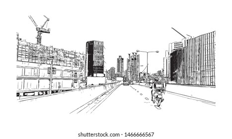 Building view with landmark of Bangkok, Thailand's capital, is a large city known for vibrant street life. Hand drawn sketch illustration in vector.