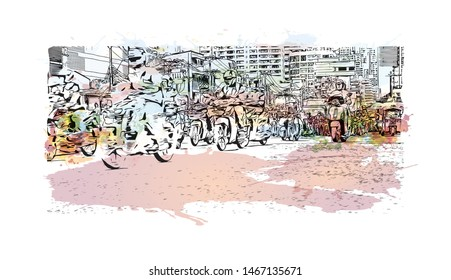 Building view with landmark of Bangkok, Thailand's capital. Watercolor splash with Hand drawn sketch illustration in vector.
