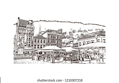 Building view with landmark of Bergen is a city on Norway's southwestern coast. Hand drawn sketch illustration in vector.