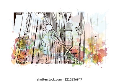 Building view with landmark of Bergen is a city on Norway's southwestern coast. Watercolor splash with Hand drawn sketch illustration in vector.