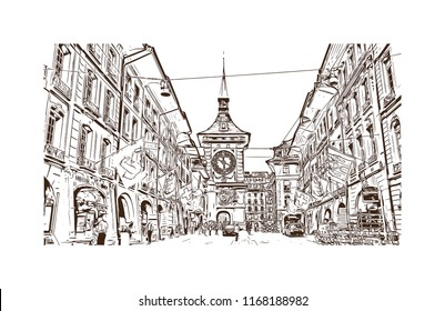 Building view with landmark of Bern, the capital city of Switzerland. Hand drawn sketch illustration in vector.