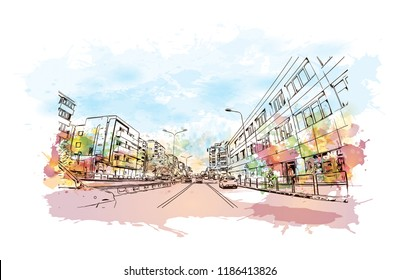 Building view with landmark of Brasov is a city in the Transylvania region of Romania. Watercolor splash with Hand drawn sketch illustration in vector.