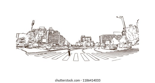 Building view with landmark of Brasov is a city in the Transylvania region of Romania. Hand drawn sketch illustration in vector.
