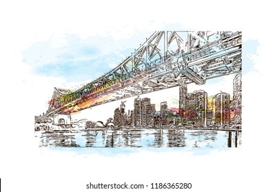 Building view with landmark of Brisbane, capital of Queensland, is a large city on the Brisbane River, City in Australia. Watercolor splash with Hand drawn sketch illustration in vector.