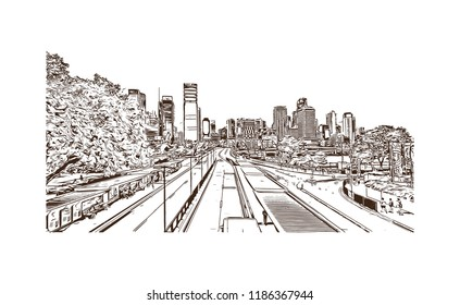 Building view with landmark of Brisbane, capital of Queensland, is a large city on the Brisbane River, City in Australia. Hand drawn sketch illustration in vector.
