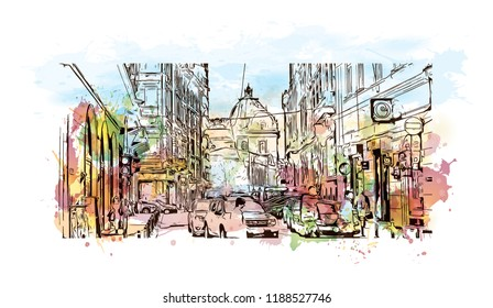 Building view with landmark of Bucharest, in southern Romania, is the country's capital and commercial center. Watercolor splash with Hand drawn sketch illustration in vector.