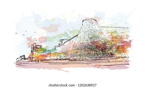 Building view with landmark of Bukhara is an ancient city in the central Asian country of Uzbekistan. Watercolor splash with Hand drawn sketch illustration in vector.