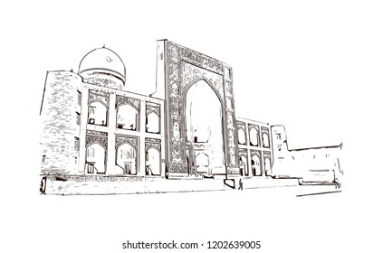 Building view with landmark of Bukhara is an ancient city in the central Asian country of Uzbekistan. Hand drawn sketch illustration in vector.