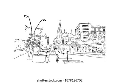 Building view with landmark of Cali is the city in Colombia. Hand drawn sketch illustration in vector.