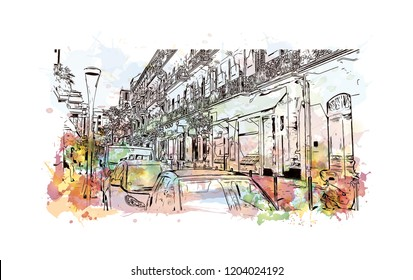 Building view with landmark of Cannes City in France. Watercolor splash with hand drawn sketch illustration in vector.