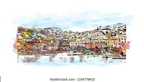 Building view with landmark of Capri is a municipality, in the Metropolitan City of Naples, situated on the island of Capri in Italy. Watercolor splash with  Hand drawn sketch illustration in vector.