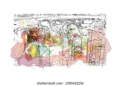 Building view with landmark of Catania is an ancient port city on Sicily's east coast. Watercolor splash with Hand drawn sketch illustration in vector.
