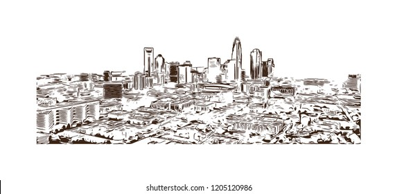 Building view with landmark of Charlotte is a major city and commercial hub in North Carolina. Hand drawn sketch illustration in vector.