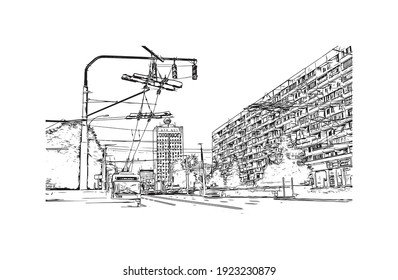 Building view with landmark of Chisinau is the capital of Moldova. Hand drawn sketch illustration in vector.