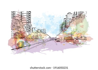 Building view with landmark of Chongqing is the municipality in China. Watercolour splash with hand drawn sketch illustration in vector.