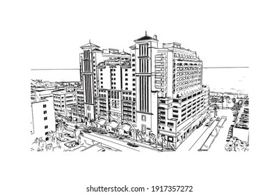 Building view with landmark of Clearwater is the city in Florida. Hand drawn sketch illustration in vector.