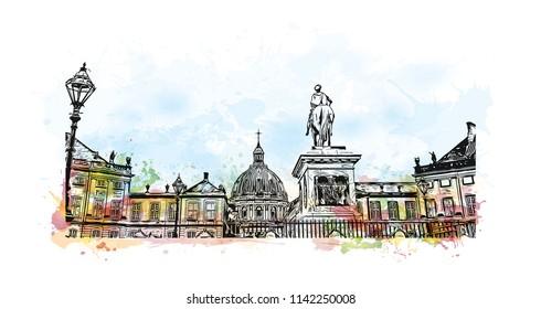 Building view with landmark of Copenhagen, Capital of Denmark. Watercolor splash with hand drawn sketch illustration in vector.