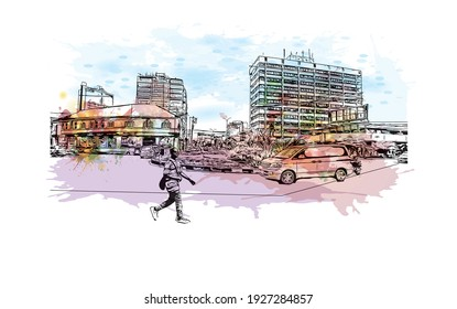 Building view with landmark of Dar es Salaam is the city in Tanzania. Watercolour splash with hand drawn sketch illustration in vector.