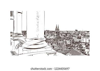 Building view with landmark of Denver, the capital of Colorado, is an American metropolis dating to the Old West era. Hand drawn sketch illustration in vector.