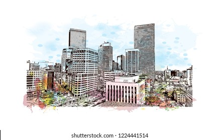 Building view with landmark of Denver, the capital of Colorado. Watercolor splash with hand drawn sketch illustration in vector.