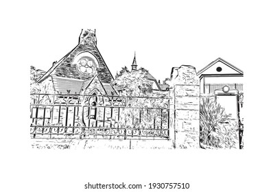 Building view with landmark of Derry is a city in Northern Ireland. Hand drawn sketch illustration in vector.